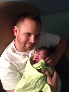 Proud Dad with Baby Dominic less than an hour old