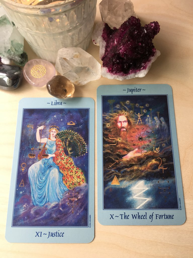 Tarot-Cards-Justice-Wheel-of-Fortune