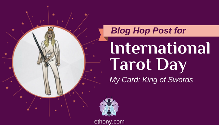 Title image with illustration of King of Swords Tarot card with purple background