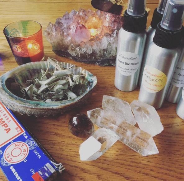 Image of aura soma spray, crystals and incense